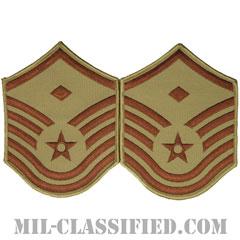 先任曹長(First Sergeant (E-7))[デザート/メロウエッジ/空軍階級章(1991-)/Large(男性用)/パッチ/ペア(2枚1組)]の画像