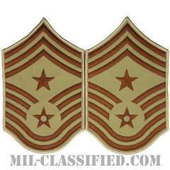部隊先任最上級曹長(Command Chief Master Sergeant)[デザート/メロウエッジ/空軍階級章(1991-)/Large(男性用)/パッチ/ペア(2枚1組)]の画像