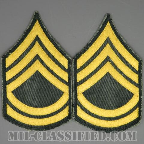 一等軍曹(Sergeant First Class (SFC))[カラー/カットエッジ/階級章(1959-)/パッチ/中古1点物(ペア2枚1組)]の画像