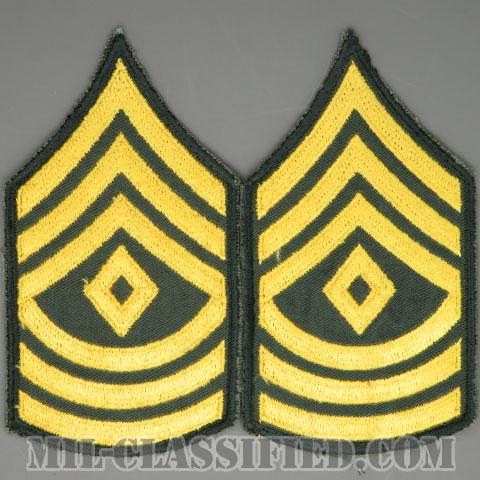 先任曹長(First Sergeant (1SG))[カラー/カットエッジ/階級章(1959-)/パッチ/中古1点物(ペア2枚1組)]の画像