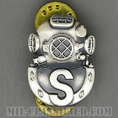 回収潜水員章(Diver Badge, Salvage)[カラー/1960s/燻し銀(銀張り・Silver Filled)/バッジ/中古1点物]の画像