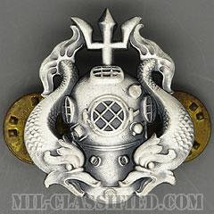 潜水員章 (最上級)(Diver Badge, Master)[カラー/1960s/燻し銀(銀張り・Silver Filled)/バッジ/中古1点物]の画像