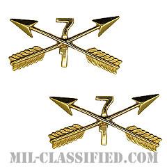 第7特殊部隊群第1大隊特殊部隊章(1st Bn, 7th SFG, Special Forces Branch Insignia)[カラー/兵科章(将校用)/バッジ/ペア(2個1組)]の画像