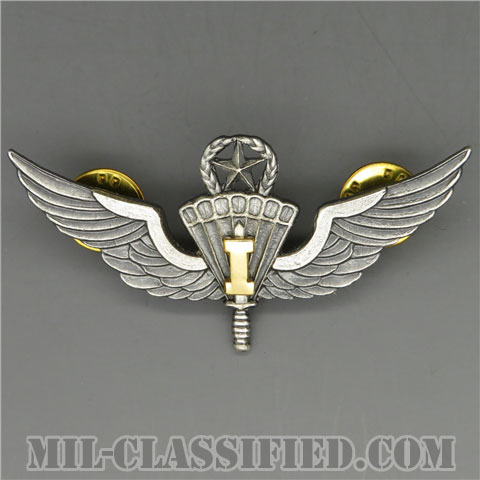 自由降下章(インストラクター)試作品(Military Freefall Parachutist, Instructor, Prototype)[カラー/1980s/燻し銀/バッジ/1点物]の画像