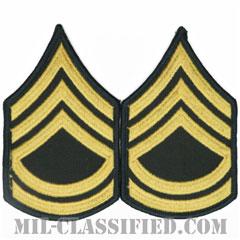 一等軍曹(Sergeant First Class (SFC))[カラー(グリーン)/階級章(女性用)/1996-/パッチ/ペア(2枚1組)]の画像