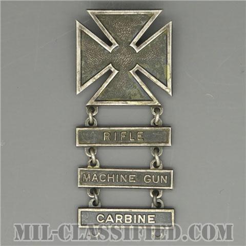 射撃技術章 (マークスマン)(Marksmanship Badge, Marksman)[カラー/1940s/燻し銀(純銀・STERLING)/バッジ(ピンバック)/中古1点物(バー3個付)]の画像