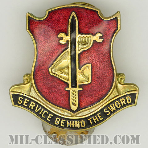 第195兵器大隊(185th Ordnance Battalion)[カラー/クレスト(Crest・DUI・DI)バッジ/1960s/中古1点物]の画像