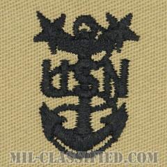 最先任上等兵曹(Master Chief Petty Officer)[デザート/海軍階級章/生地テープパッチ/ペア(2枚1組)]の画像