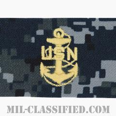 上等兵曹(Chief Petty Officer)[NWU Type1/襟用階級章/生地テープパッチ/ペア(2枚1組)]の画像