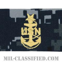 上級上等兵曹(Senior Chief Petty Officer)[NWU Type1/襟用階級章/生地テープパッチ/ペア(2枚1組)]の画像