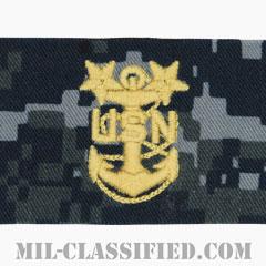 最先任上等兵曹(Master Chief Petty Officer)[NWU Type1/襟用階級章/生地テープパッチ/ペア(2枚1組)]の画像