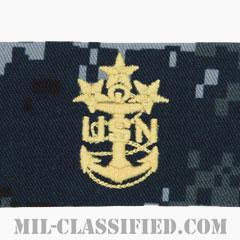 海軍最先任上等兵曹(Master Chief Petty Officer of the Navy)[NWU Type1/襟用階級章/生地テープパッチ/ペア(2枚1組)]の画像