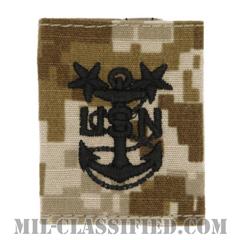 最先任上等兵曹(Master Chief Petty Officer)[NWU Type2(AOR1)/ユニフォーム・パーカー用スライドオン階級章]の画像