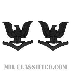 三等兵曹(Petty Officer Third Class)[サブデュード(ブラックメタル)/海軍階級章/バッジ/ペア(2個1組)]の画像