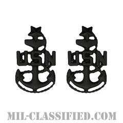 上級上等兵曹(Senior Chief Petty Officer)[サブデュード(ブラックメタル)/海軍階級章/バッジ/ペア(2個1組)]の画像