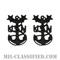 最先任上等兵曹(Master Chief Petty Officer)[サブデュード(ブラックメタル)/海軍階級章/バッジ/ペア(2個1組)]の画像