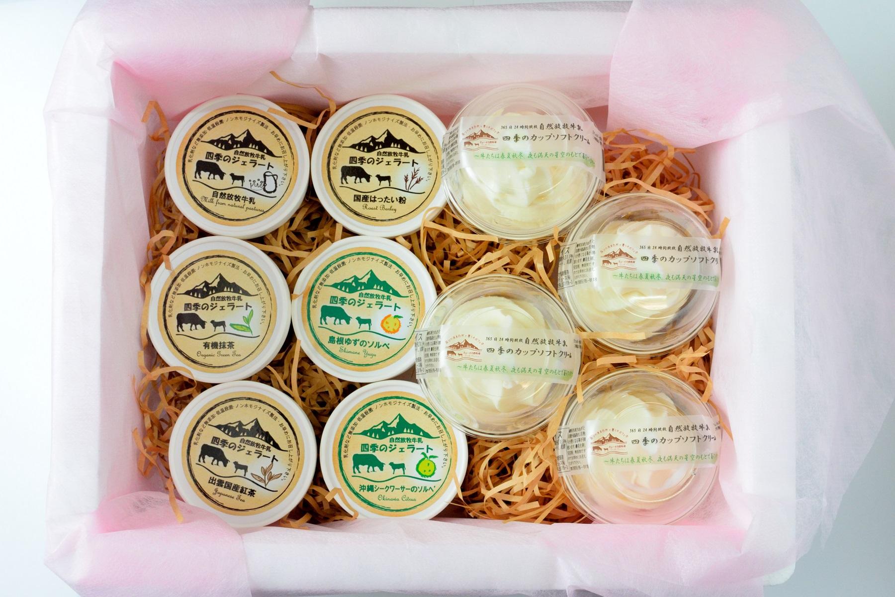 【自然放牧生乳】 無添加アイスのバラエティーセット10個入り(カップソフト×4、ジェラート×6)画像