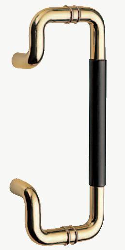 C形丸棒取手(両面用)ハンドル 真鍮+積層 標準扉厚:10~48mm No.208 把手画像