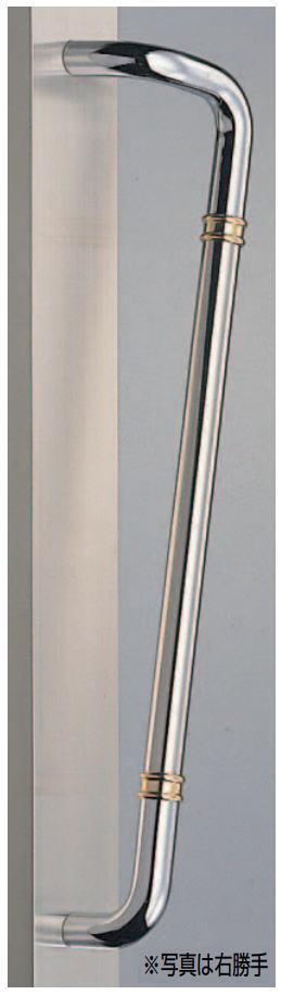 片L形丸棒取手(両面用)真鍮+ステンレスバーハンドル No.251L(左)No.251R(右)全長600mm 標準扉厚:10~55mm画像