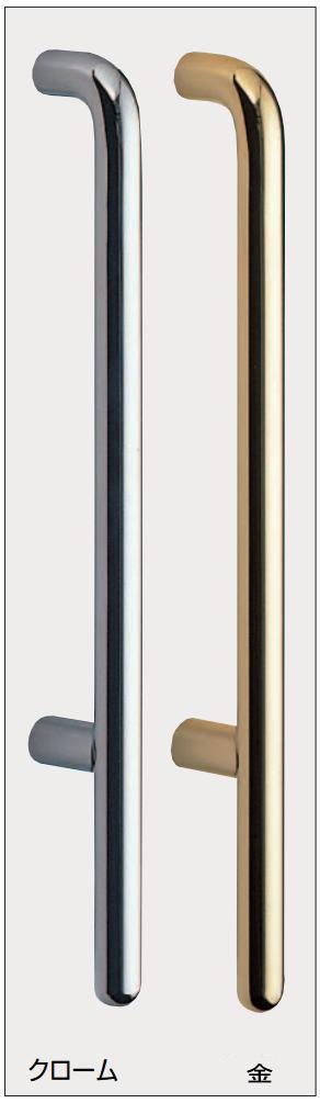 F形丸棒取手(両面用)真鍮ハンドル 全長600mm  No.206 標準扉厚:34〜48mm画像
