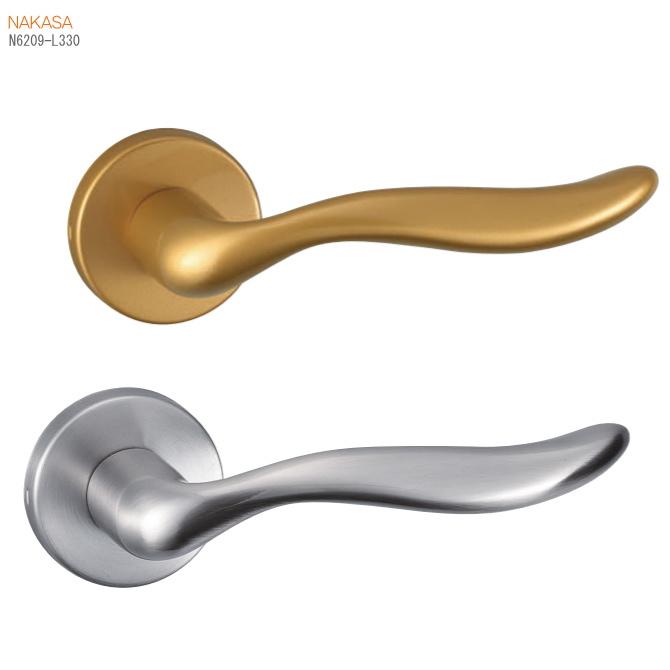 レバーハンドル(ゴールド塗装・ホワイトブロンズ)丸座 空錠・チューブラ空錠・表示錠・間仕切錠画像
