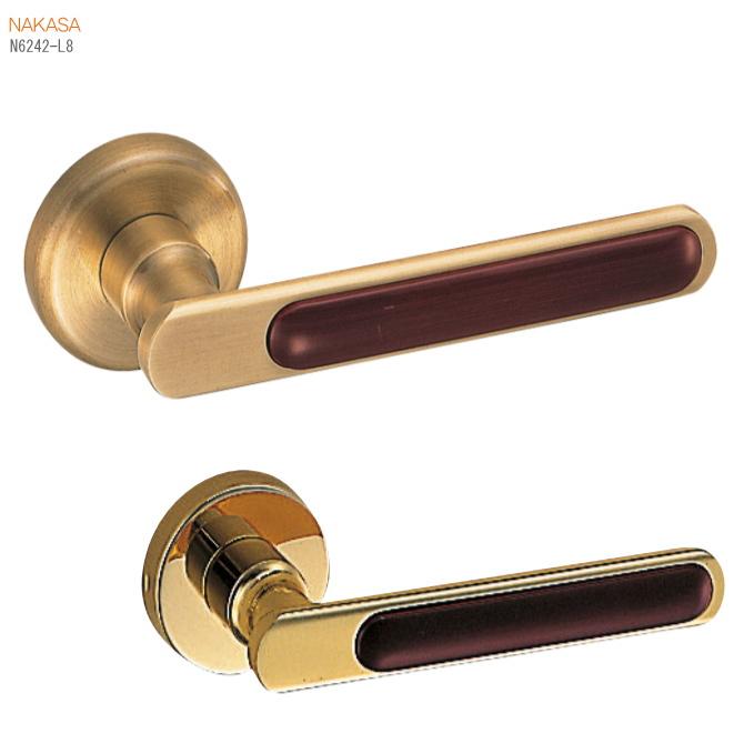 純金仕上げレバーハンドル(仙徳仕上)丸座 真鍮+積層 ドアレバー 空錠・チューブラ空錠・表示錠・間仕切錠画像