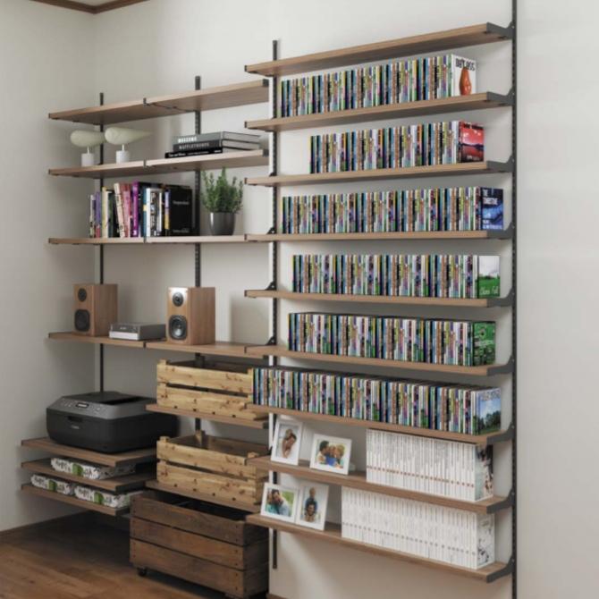 壁面薄型CDラック オーディオ機器収納棚 メディア・ゲームソフト収納システム【みごと棚】画像