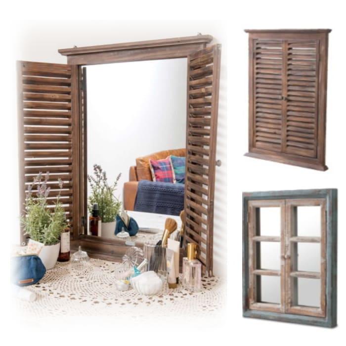 アンティーク ウィンドウミラー カントリー窓枠鏡(ルーバー大小・格子)画像