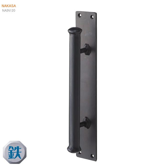 アイアンドアハンドル2型(1本)50×300 スチール(マットブラック)扉 玄関取っ手 把手ドアハンドル ヒンジ扉画像