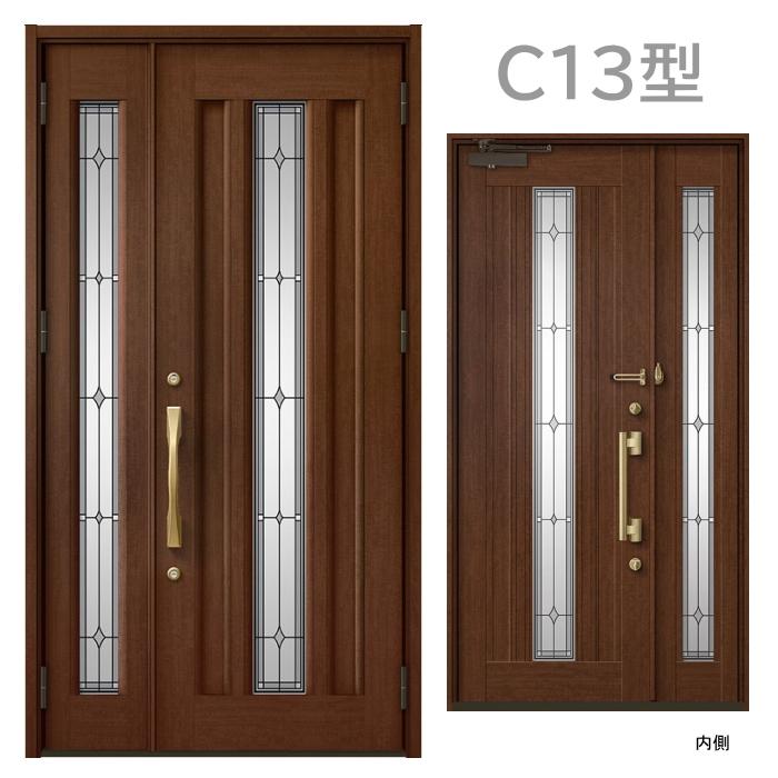 玄関ドア C13型 プレナスX 片開き・親子ドア・片袖・両袖・親子入隅画像