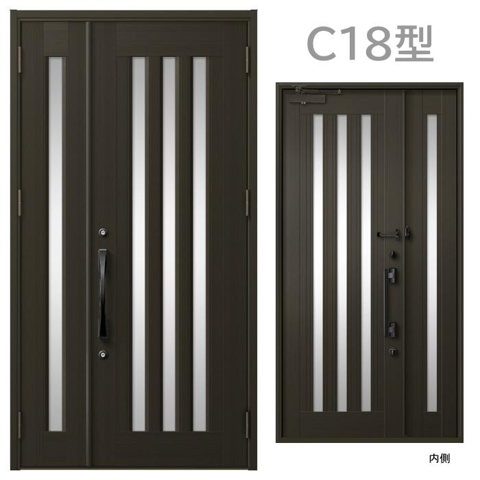玄関ドア C18型 プレナスX 片開き・親子ドア・片袖・両袖・親子入隅画像