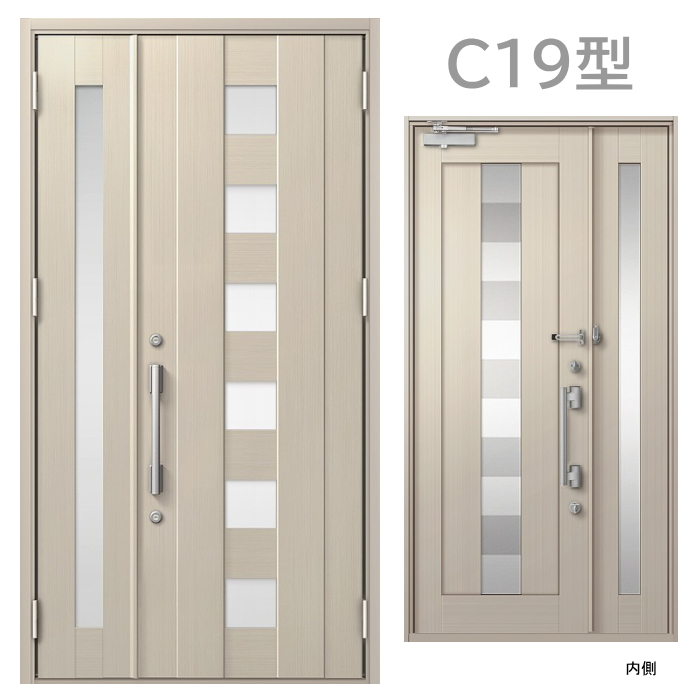 玄関ドア C19型 プレナスX 片開き・親子ドア・片袖・両袖・親子入隅画像