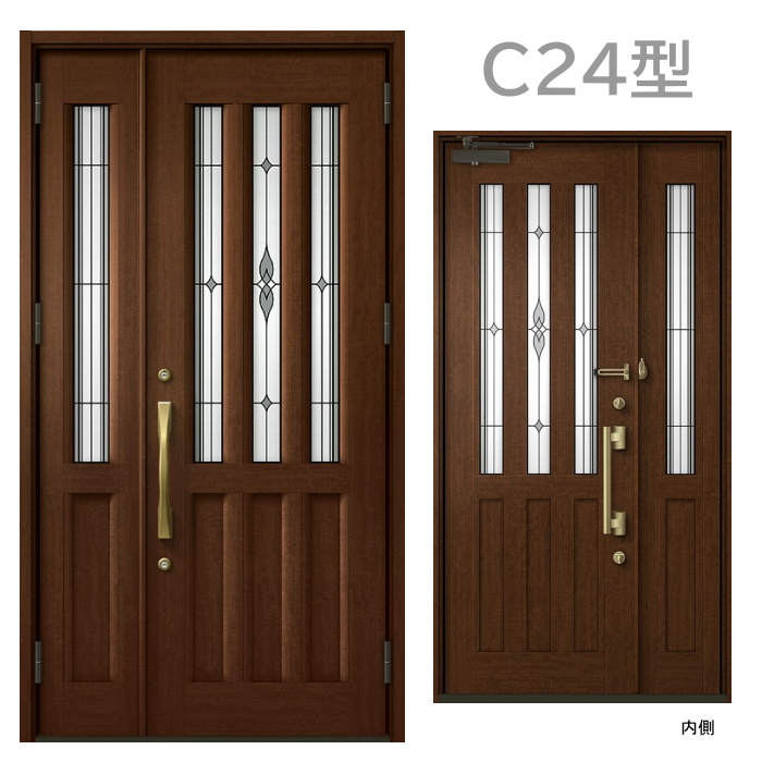 玄関ドア C24型 プレナスX 片開き・親子ドア・片袖・両袖・親子入隅画像