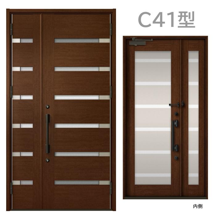 玄関ドア C41型 プレナスX 片開き・親子ドア・片袖・両袖・両開き・親子入隅画像