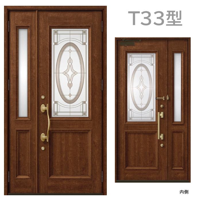 玄関ドア T33型 プレナスX 片開き・親子ドア・片袖・両袖・両開き・親子入隅画像