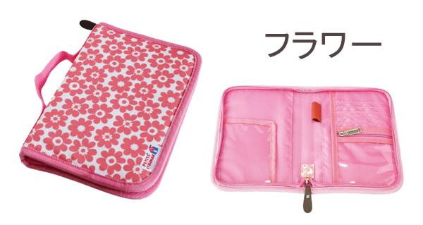 ママへのプレゼントに!ポケットがたくさんついたプチママンの母子手帳ケースピンクフラワー画像