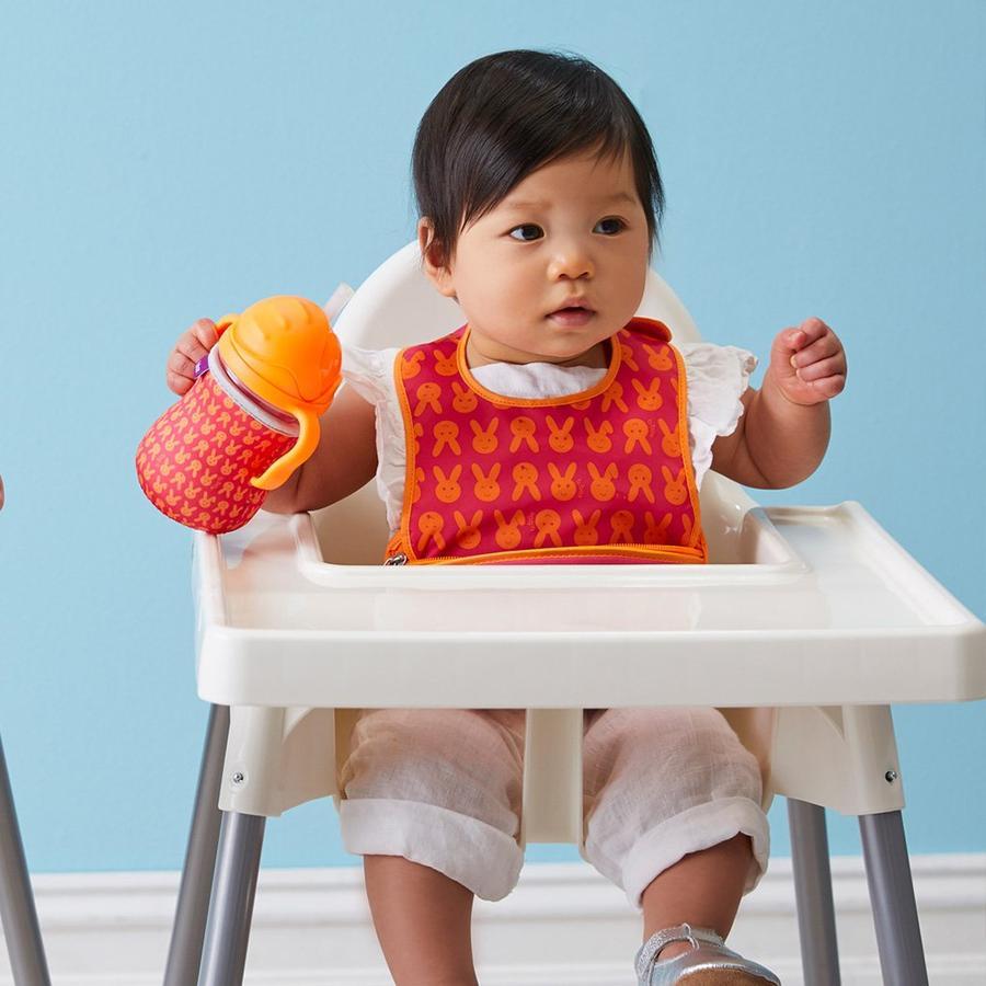 洗濯機で洗える!赤ちゃん用お食事用ビブ+スプーンセット☆オーストラリア発ベビー用品「ビーボックス」ご出産祝いにも☆ピンクラビット画像