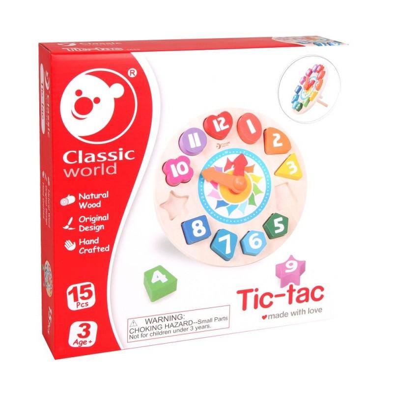 エコ素材を使ったおもちゃブランド「エバーアース」カラフル木製おもちゃ時計の勉強、型ハメ遊びも!画像