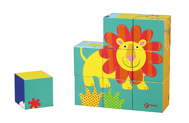 ご出産祝い・誕生日プレゼントに!ベビー用知育玩具・キッズ用おもちゃ「クラシックワールド」ワイルドアニマルブロックパズル画像