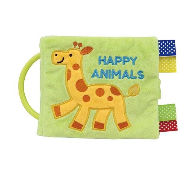 初めての絵本に、手洗いできる布絵本仕掛けもいっぱい音や感触で楽しめます「ハッピーアニマルズ」出産祝いにも。画像