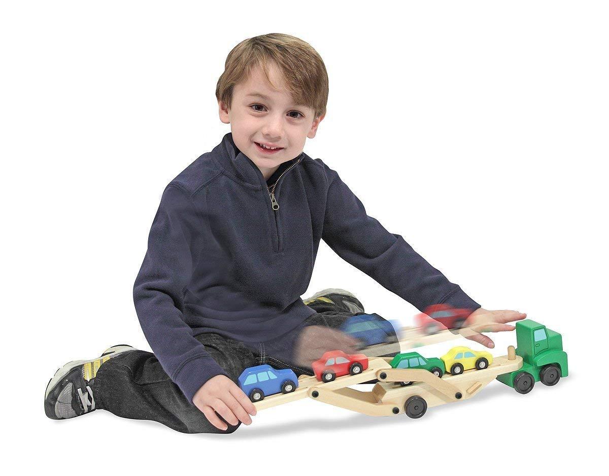 Melissa&Doug「メリッサ&ダグ」子ども用おもちゃキャリアカー車4台を一度に乗せられるキャリアカー画像