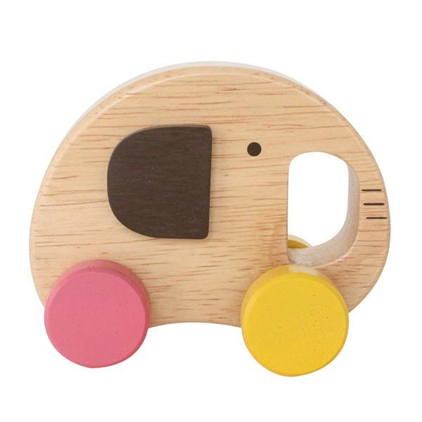 出産祝い・プレゼントに!木の風合いが優しい車の木製おもちゃエレファントカーの画像
