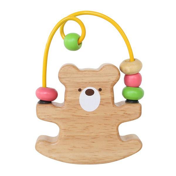 木のおもちゃ ベビー向けルーピングベア赤ちゃん おもちゃ ビーズコースター 木製玩具出産祝い 内祝い 画像