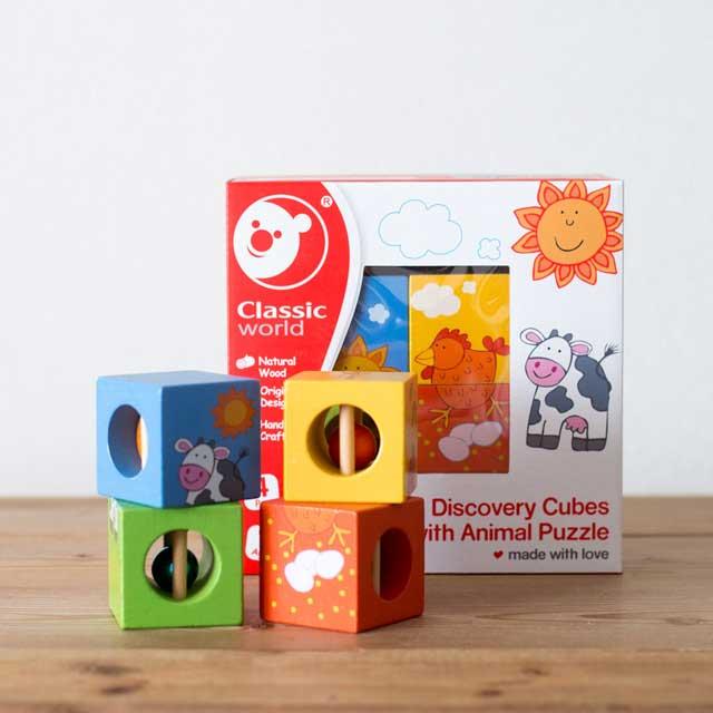 ご出産祝い、お誕生日プレゼントにも◎木製知育玩具「クラシックワールド」ディスカバリーキューブウィズアニマルパズル画像