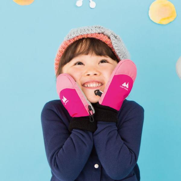 赤ちゃん・子供用撥水加工あったか手袋ミトン2色日本のベビー用品、子供用品ブランド「スタンプル」お誕生日プレゼント・プチギフトに(ピンク・SSサイズ3-4歳用)画像