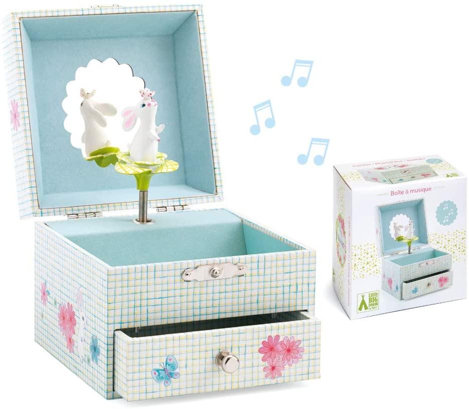 フランスおもちゃブランド「DJECOジェコ」スウィート ラビット ソング 知育玩具 オルゴール ジュエリーボックス アクセサリー ボックス 宝箱 ブルー うさぎ こども 女の子お誕生日プレゼント画像