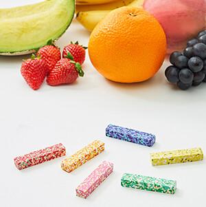 AOZORA(あおぞら)ドットフルーツクレヨン色彩豊かなカラーチップからうまれたカラフルで水々しい果物の色合いのクレヨン画像