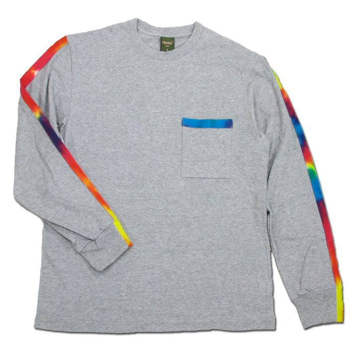 Phatee - TIEDYE LINE L/S TEE / HEATHER GRAY画像