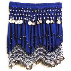 ブルーに銀のコインのヒップスカート(ヒップスカーフ)画像