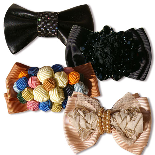 革のシューズクリップ(シューズリボン&ビジュー)お好きな色で作れます!お手持ちシューズを華やかに画像